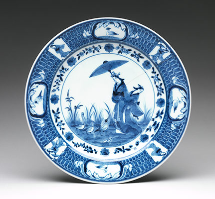 Dish Depicting Lady with a Parasol