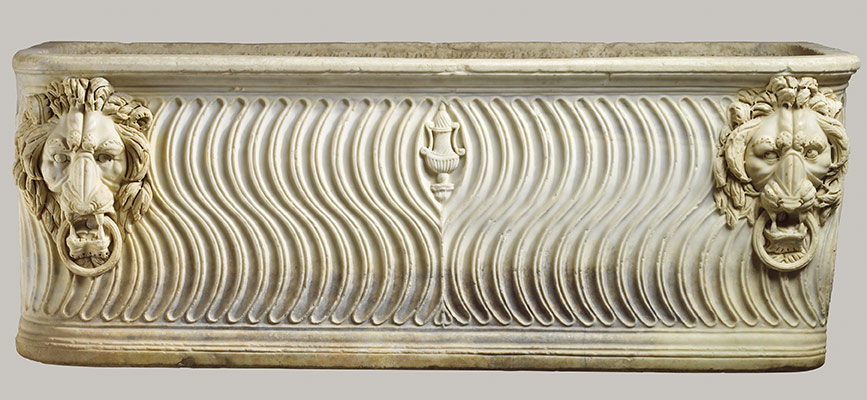 Strigilated sarcophagus