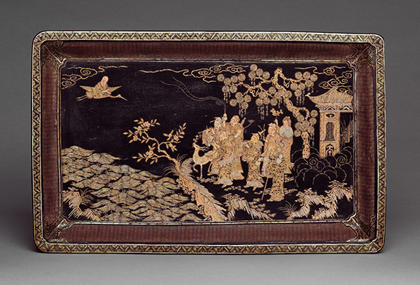Tray with Daoist Figures
