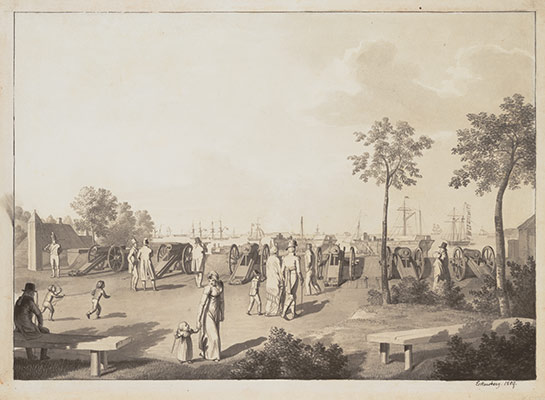 The Harbour of Copenhagen from the Esplanade between Langelinie and Toldboden; verso: Sketch of a Standing Man