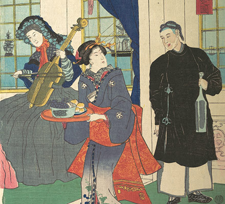 Foreigners in the Drawing Room of Foreign Merchants House in Yokohama
