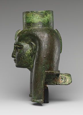 Head of a goddess, probably Mut, for attachment to a processional barque (?)