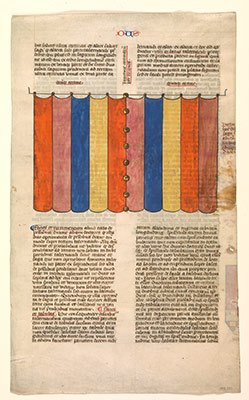 Curtain of the Tabernacle, one of six illustrated leaves from the Postilla Litteralis (Literal Commentary) of Nicholas of Lyra