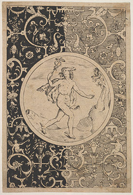 Mercury in a Decorative Frame with Grotesques
