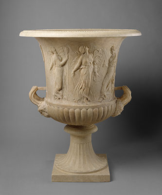 Marble calyx-krater with reliefs of maidens and dancing maenads