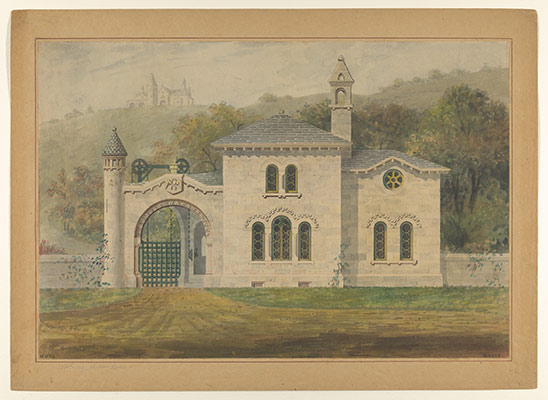 Gate Lodge for Amos G. Hull, Newburgh, New York (front elevation)