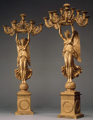 Pair of candelabra with Winged Victories