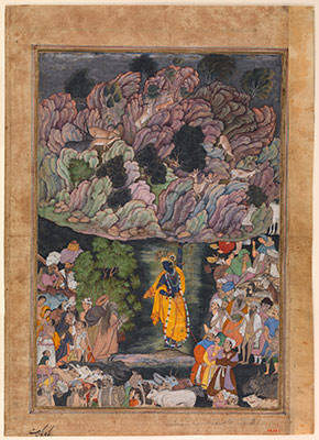 Krishna Holds Up Mount Govardhan to Shelter the Villagers of Braj, Folio from a Harivamsa (The Legend of Hari (Krishna))