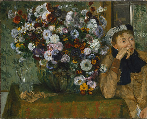 A Woman Seated Beside a Vase of Flowers (Madame Paul Valpincon?)