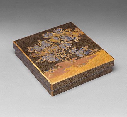Writing Box with Warbler in Plum Tree