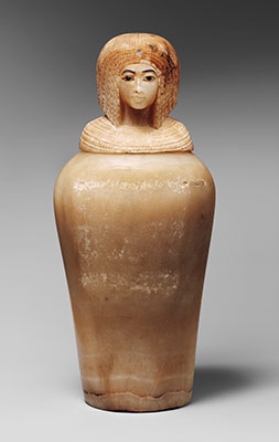 Canopic Jar (07.226.1) with a Lid in the Shape of a Royal Womans Head (30.8.54)