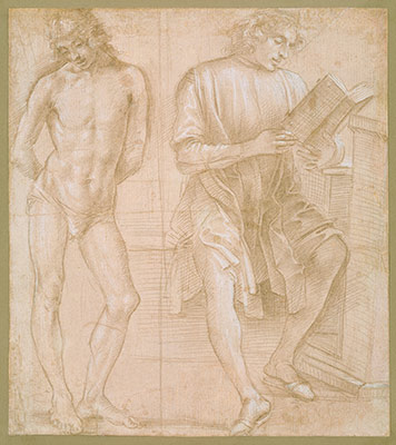 renaissance drawings material and function essay heilbrunn  standing youth hands behind his back and a seated youth reading recto