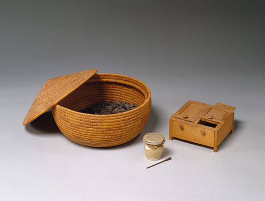 Basket and toilet articles
