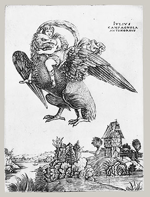 Ganymede as a young boy riding a large eagle (Zeus) in flight above a landscape