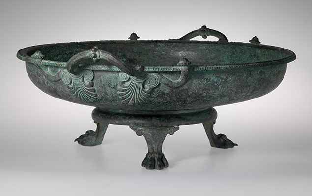 Bronze footbath with stand