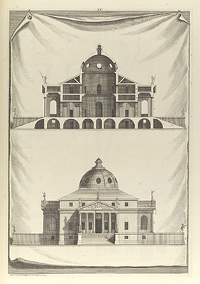 Villa Rotunda, in The Architecture of A. Palladio in Four Books containing a Short Treatise on the Five Orders (LArchitecture de A. Palladio en quatre livres... / Il quattro libri dellarchitettura) (Volume 1, book 2, plate 15)