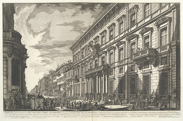 View along the Via del Corso of the Palazzo dellAccademia, established by Louis XIV, King of France for French students of Painting, Sculpture and Architecture..., from Vedute di Roma (Views of Rome), part I
