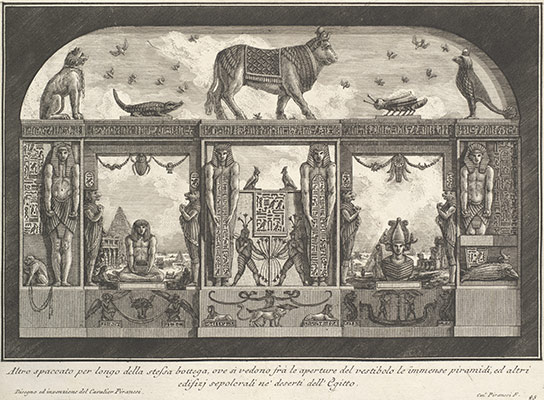 Egyptian decoration of the Caffè degli Inglesi: Animals on the cornice, incliding a bull at the center, from Diverse Maniere dadornare i cammini... (Diverse Ways of ornamenting chimneypieces...)