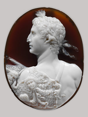 Sardonyx cameo portrait of the Emperor Augustus