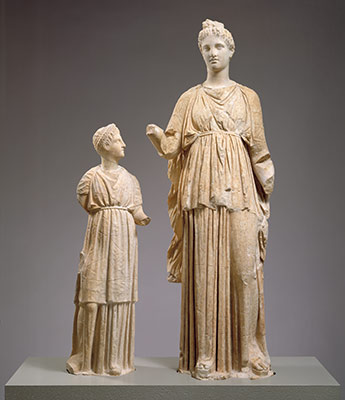 Statue of a young woman and a girl from a grave monument
