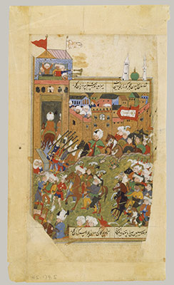 Ottoman Army Entering a City, Folio from a Divan of Mahmud `Abd al-Baqi