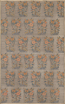 Silk Fragment with a Rosebush, Deer and Flower Pattern