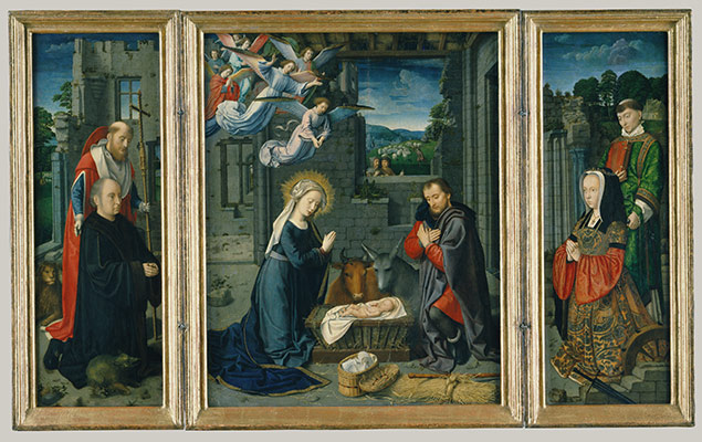 The Nativity with Donors and Saints Jerome and Leonar
