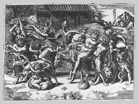 The procession of Silenus who is carried on an ass preceeded by a bacchant playing the cymbals and other figures