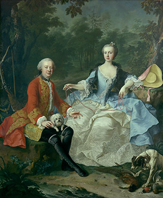 Count Giacomo Durazzo (1717-1794) in the Guise of a Huntsman, with His Wife (Ernestine Aloisia Ungnad von Weissenwolff, 1732-1794)