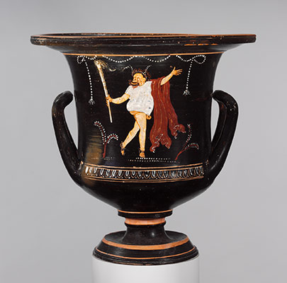Calyx-krater depicting a phlyax masquerading as a reveler