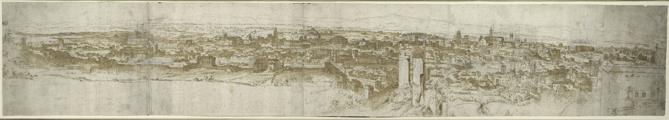 dutch and flemish artists in rome 1500 1600 essay heilbrunn view of rome from the janiculum in the south west verso sketch of
