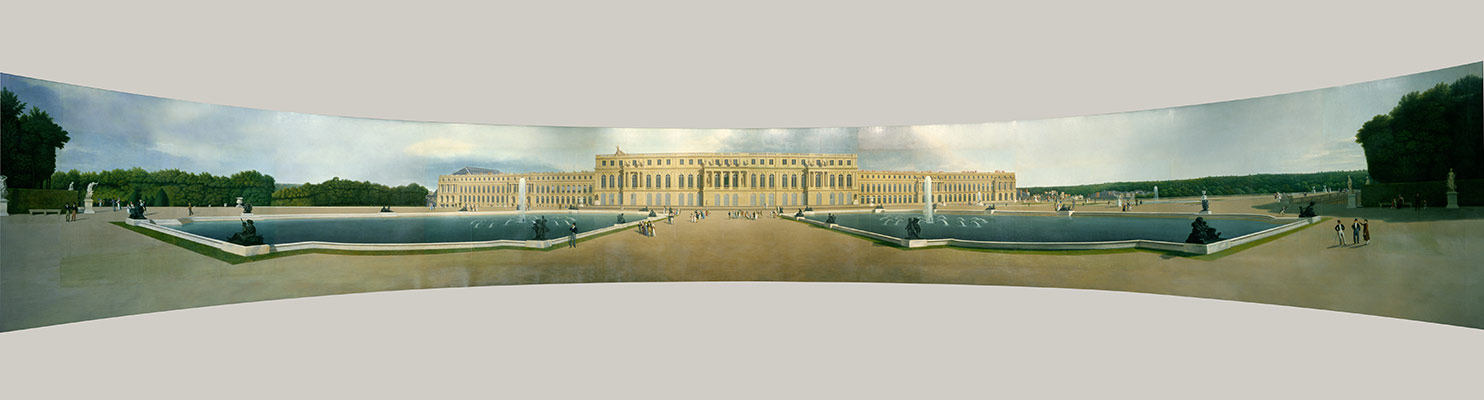 Panoramic view of the the Palace and Gardens of Versailles