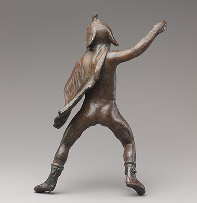 Bronze statuette of a rider wearing an elephant skin