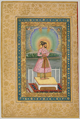Shah Jahan on a Terrace, Holding a Pendant Set With His Portrait, Folio from the Shah Jahan Album