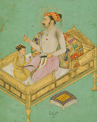 The Emperor Shah Jahan with his Son Dara Shikoh, Folio from the Shah Jahan Album