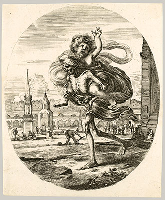Death carrying a child, from The five deaths (Les cinq Morts)