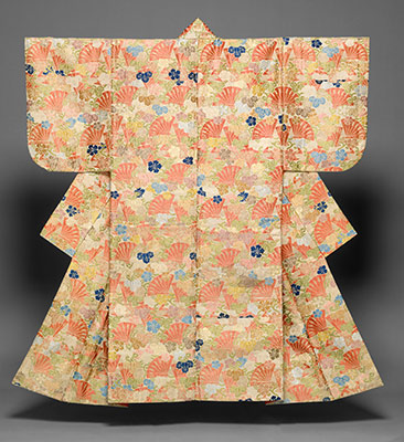 Noh Costume (Karaori) with Pattern of Cypress Fans and Yūgao Blossoms