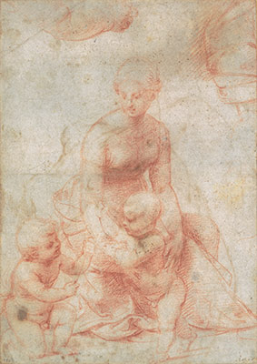 Madonna and Child with the Infant Saint John the Baptist; upper left, Study for the Right Arm of the Infant Saint John; upper right, Study for Drapery (recto); Study of a Nude Male Figure (verso)