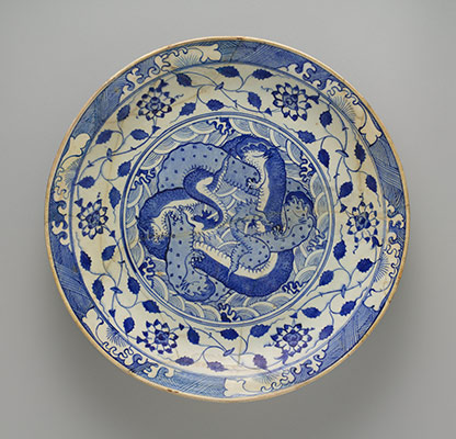 Dish with two intertwined dragons