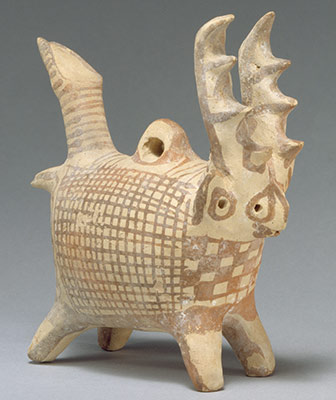 Zoomorphic askos (vessel) with antlers