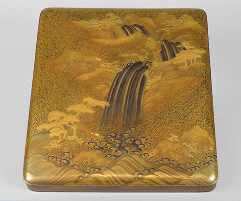 Writing Box (suzuri-bako) with Waterfall and Auspicious Characters