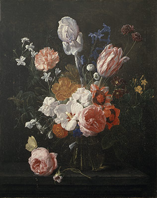 A Bouquet of Flowers in a Crystal Vase