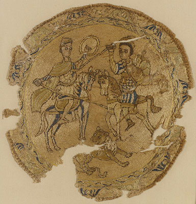 Roundel with Mounted Warriors and a Lion