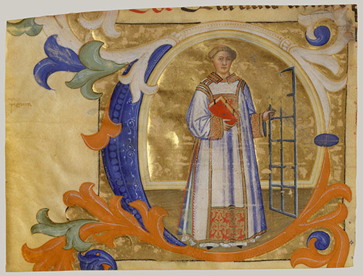 Manuscript Illumination with Saint Lawrence in an Initial C, from a Gradual