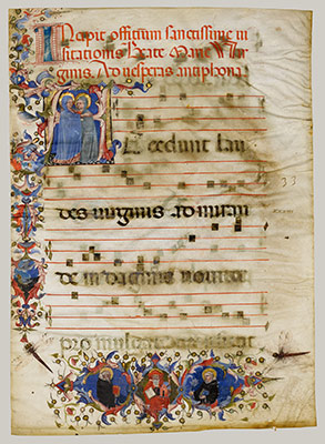 Manuscript Leaf with the Visitation in an Initial A and Cardinal Adam Easton with a Dominican Saint and Saint Dominic, from an Antiphonary