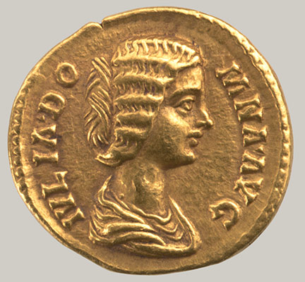 Aureus of Septimius Severus, with a portrait of Julia Domna