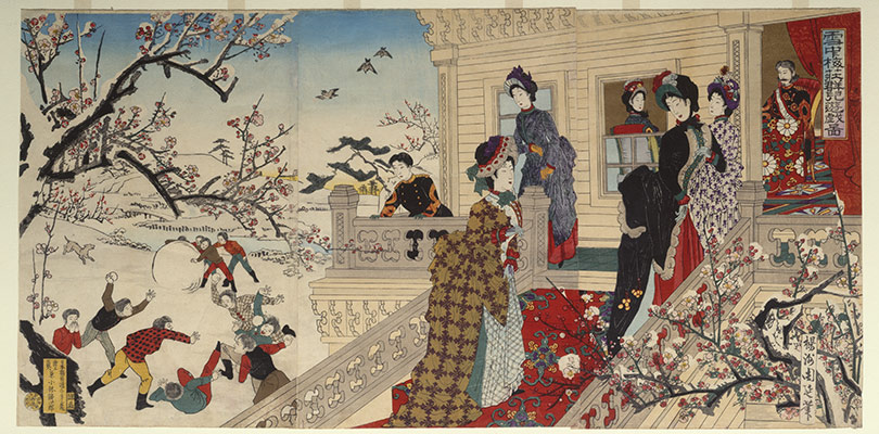 Children Playing in the Snow under Plum Trees in Bloom (Secchū baisō gunji yūgi zu)
