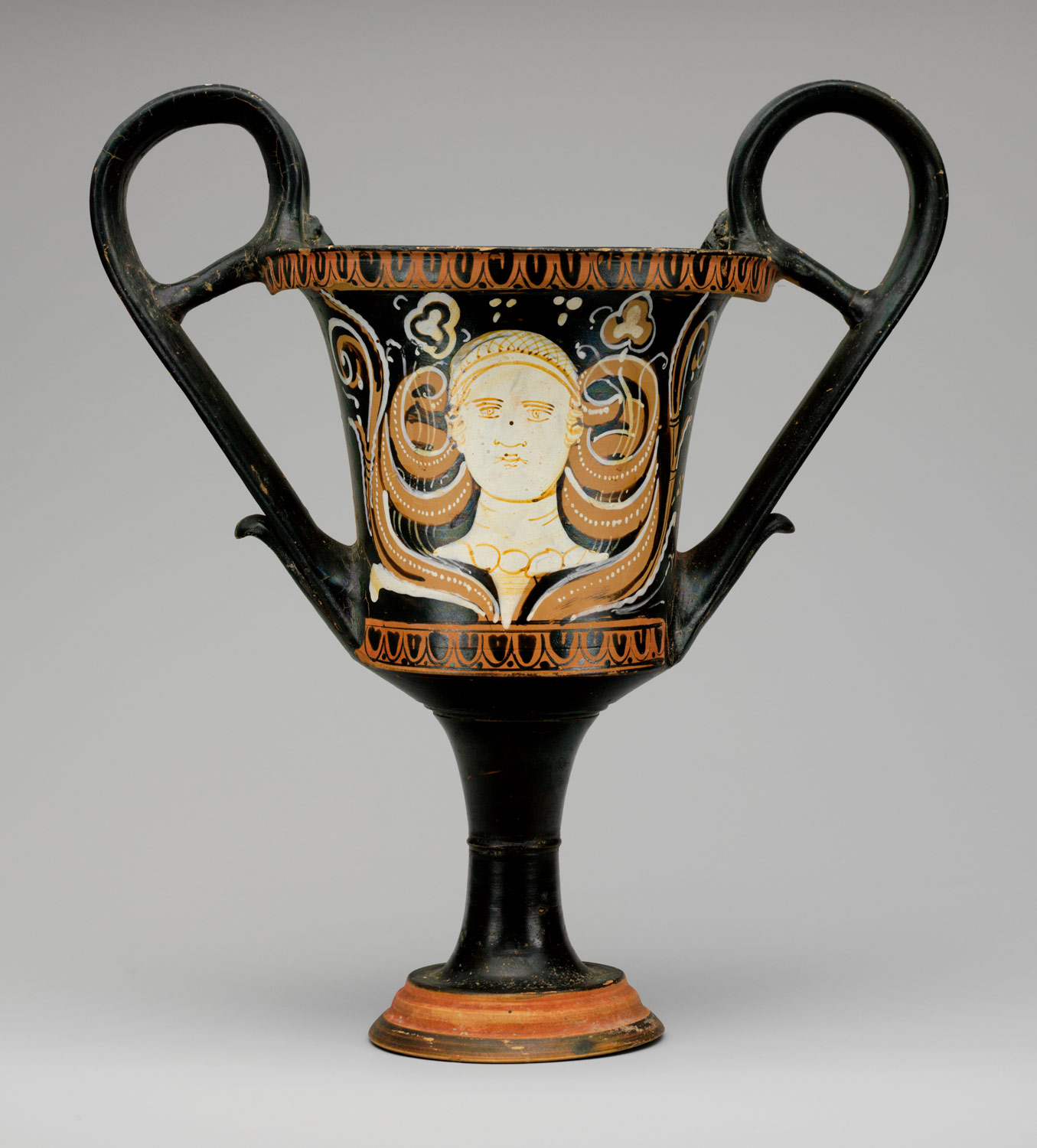 Terracotta kantharos (drinking cup with high handles)