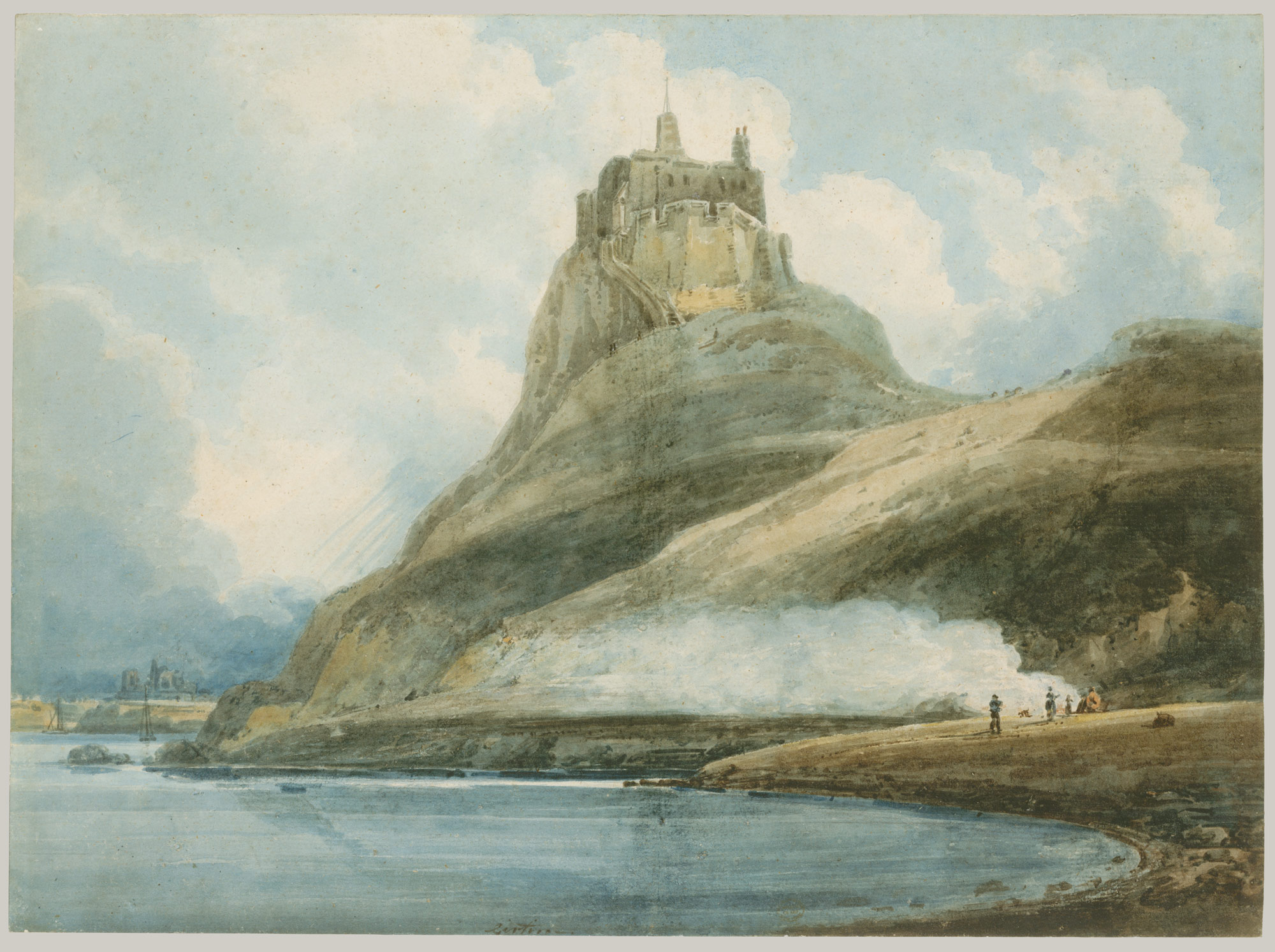 Watercolor art history brush -  Lindisfarne Castle Holy Island