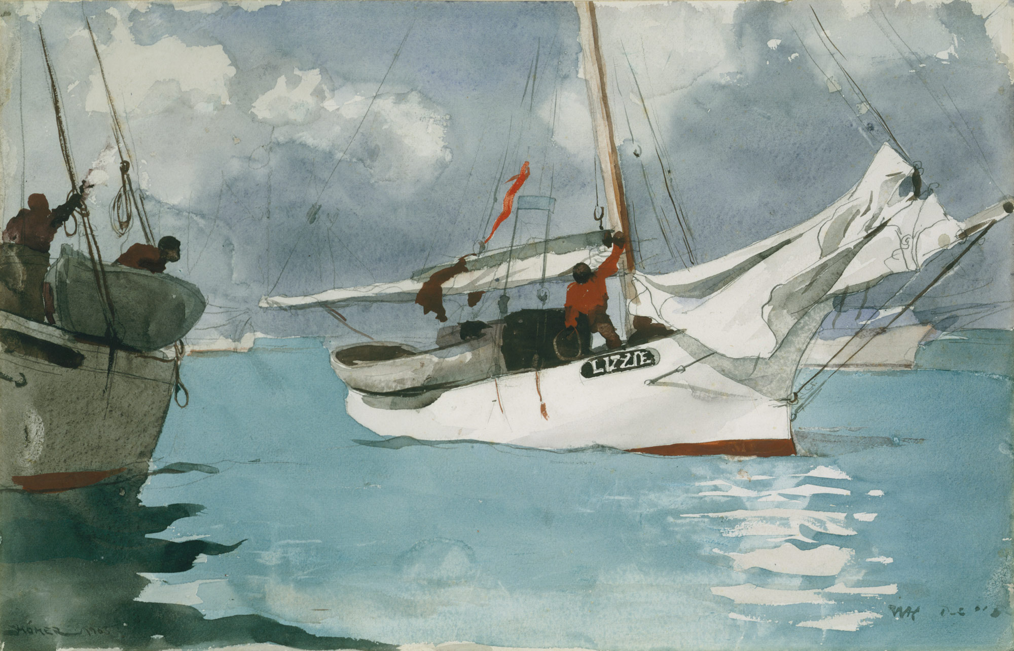 History of watercolor art -  Fishing Boats